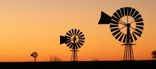 Windmill in sunset South Africa