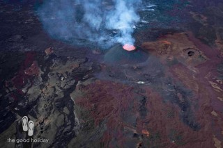 Helicopter flight over active Volcano Reunion